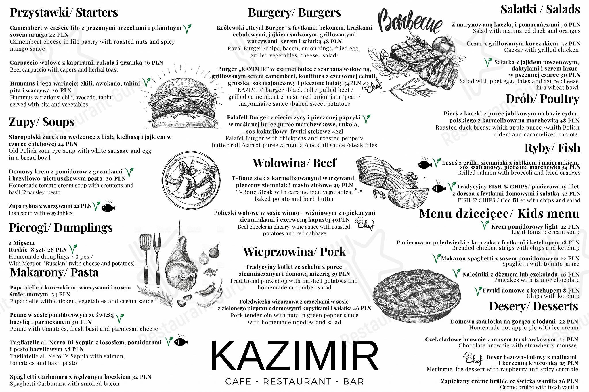 Menu At Kazimir Restaurant Krakow