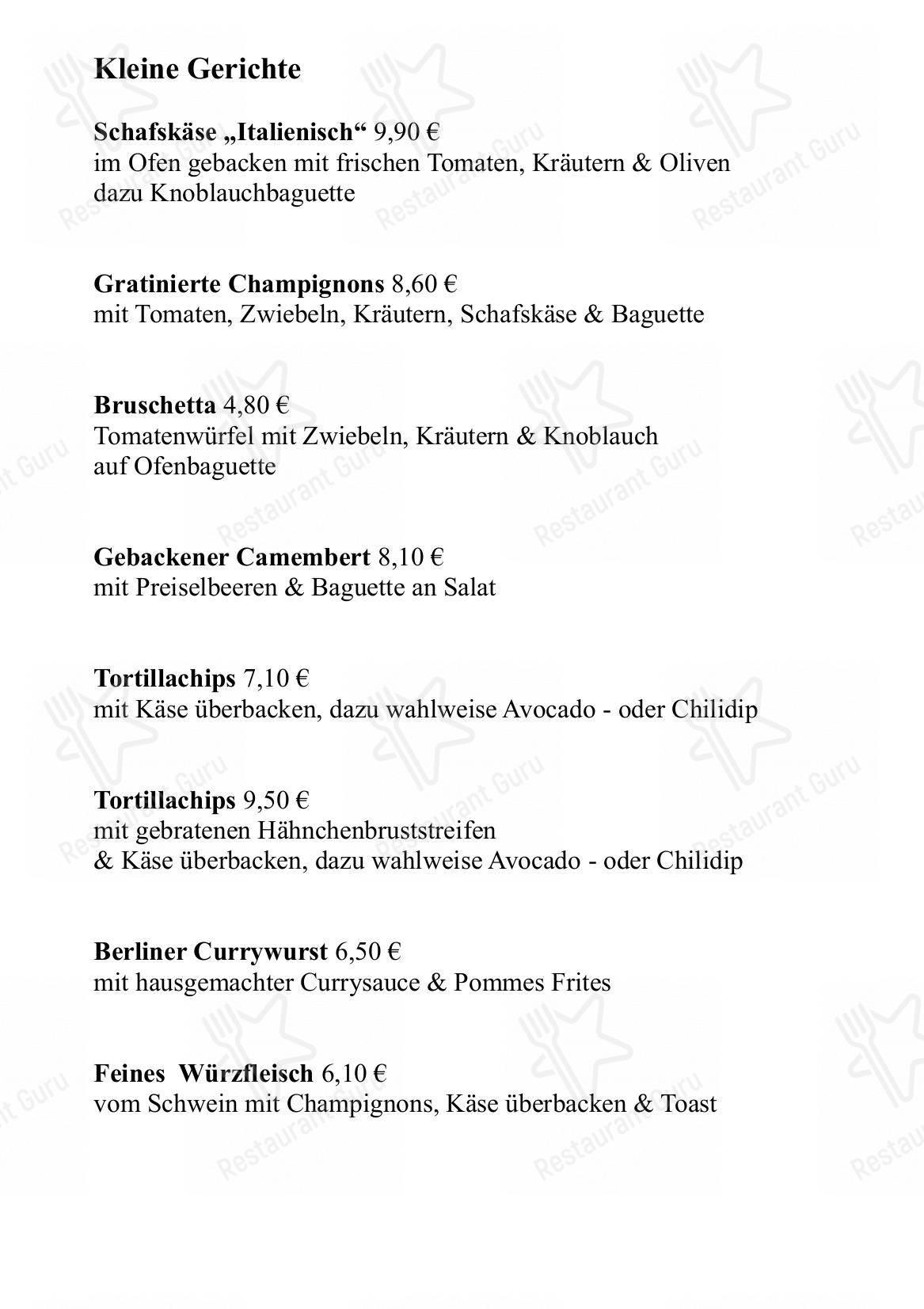Leander menu - meals and drinks