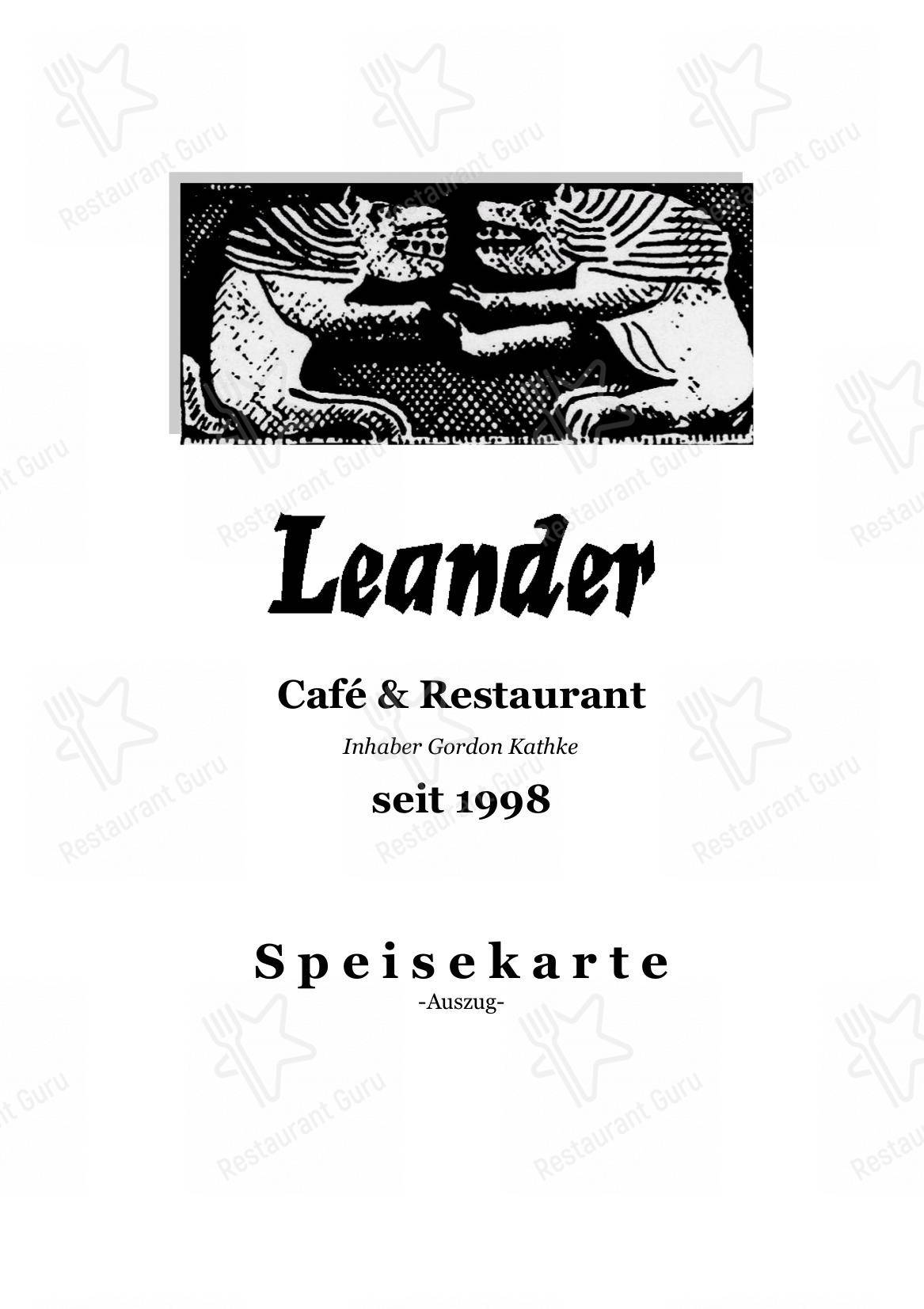 Check out the menu for Leander