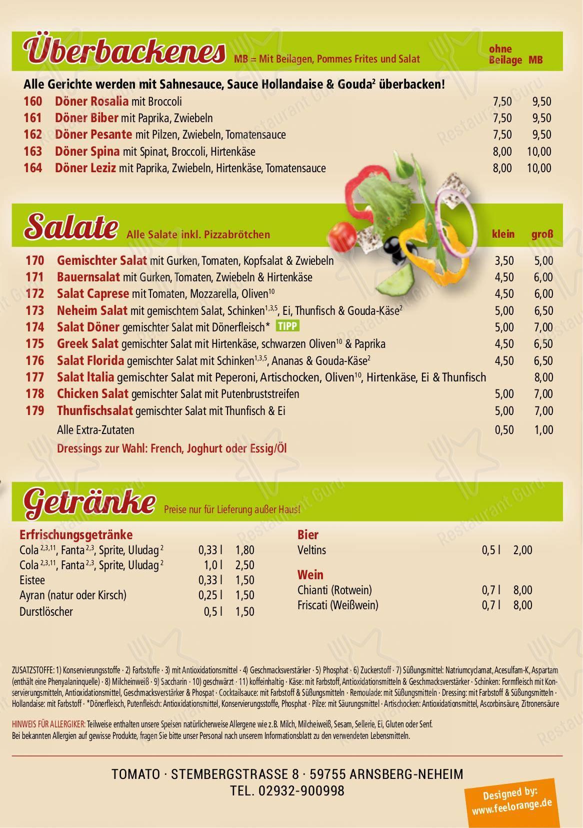 Tomato Grill In Neheim Speisekarte - Gerichte und Getränke
