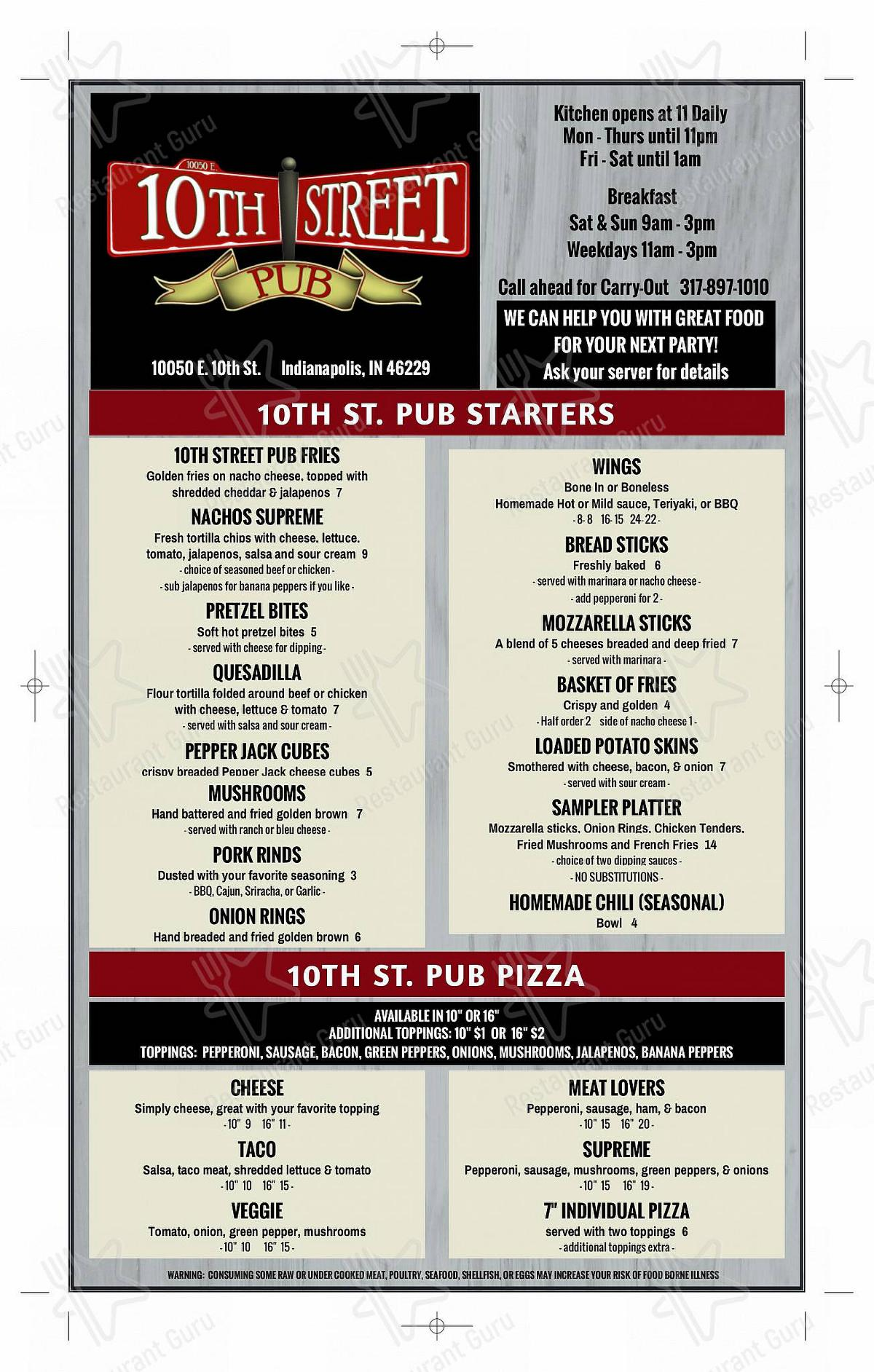 Check out the menu for 10th street pub