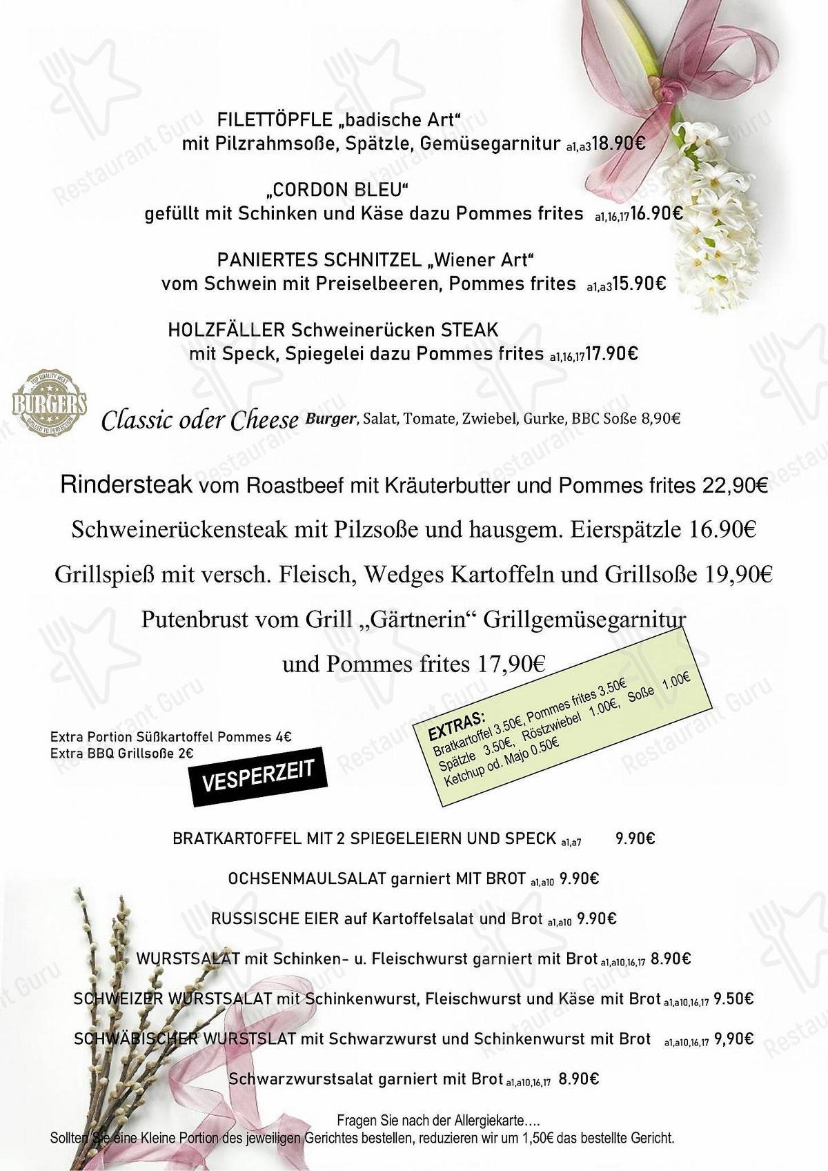 Меню для посетителей ресторана Bürgerstüble