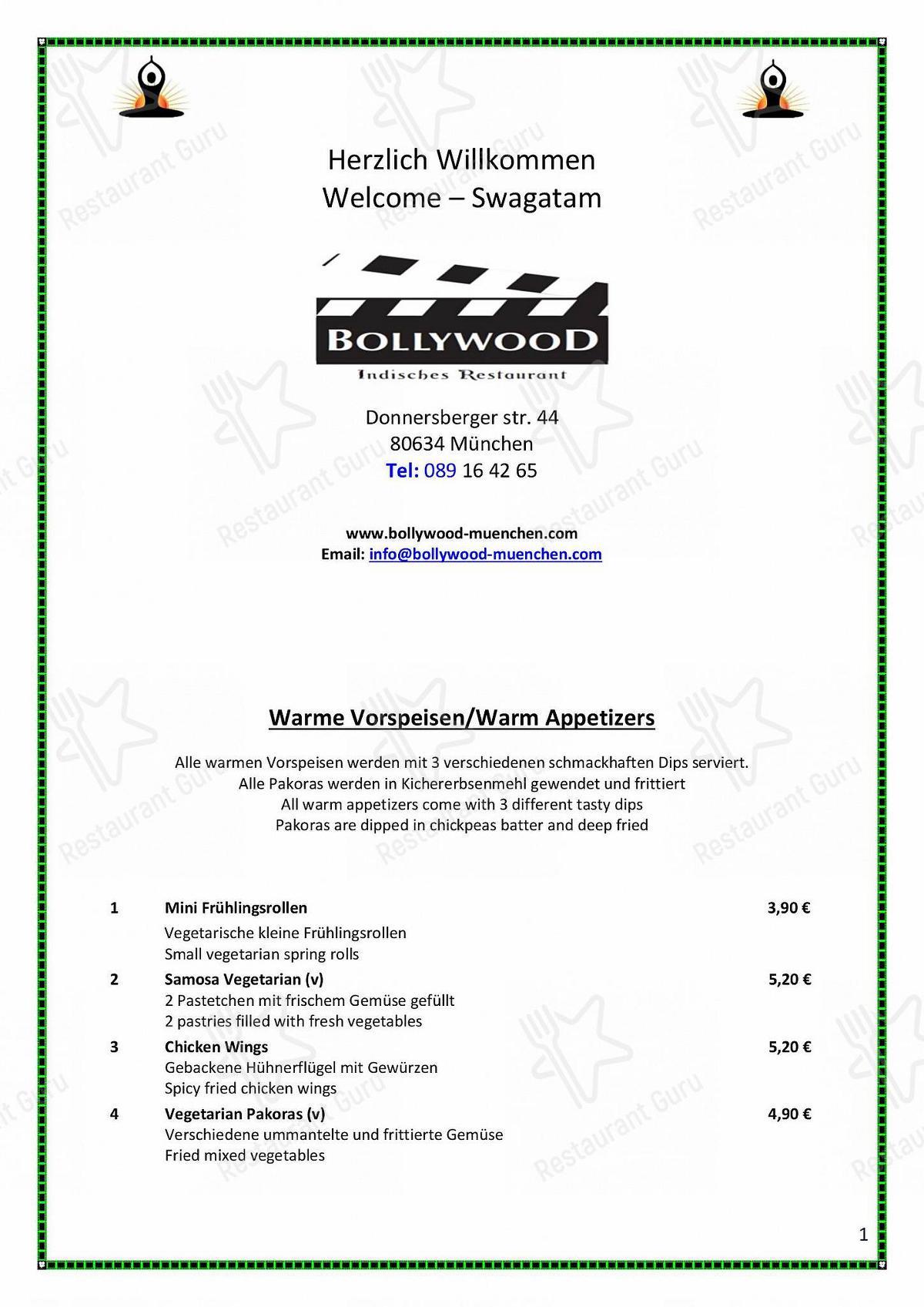 Bollywood Speisekarte - Essen und Getränke