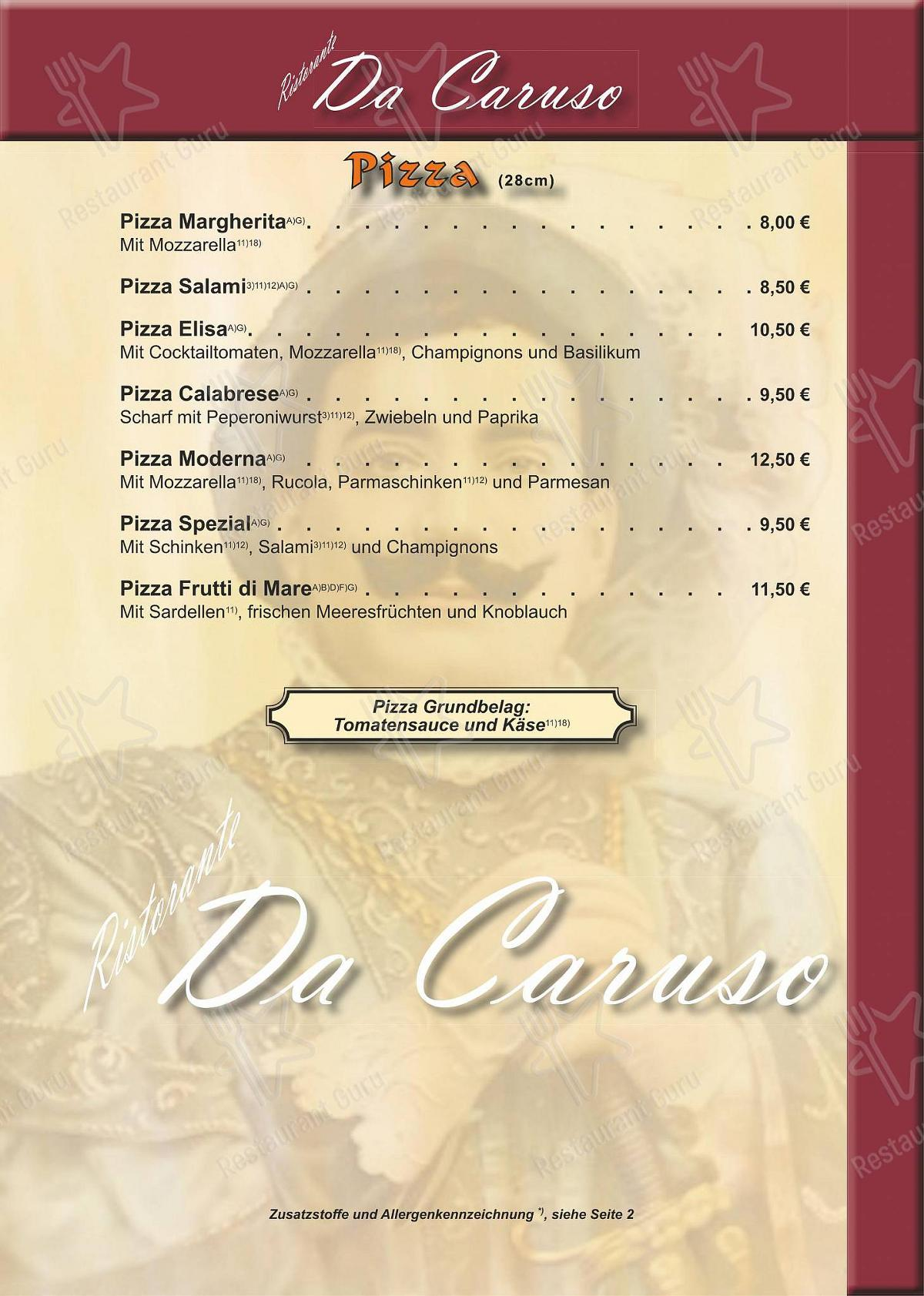 Взгляните на меню Caruso