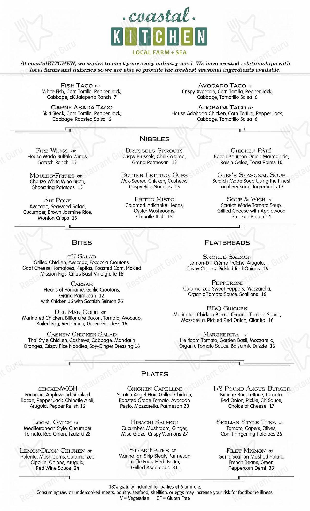 Carta de coastalKITCHEN restaurante