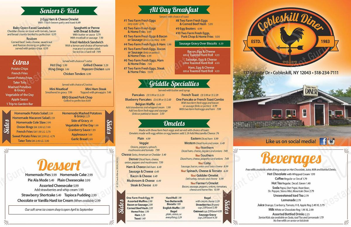 Menu for the Cobleskill Diner restaurant
