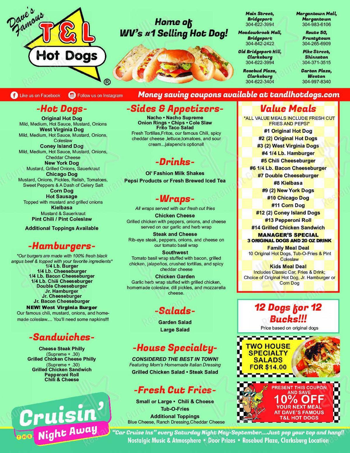 Menu for the T&L Hotdogs fast food