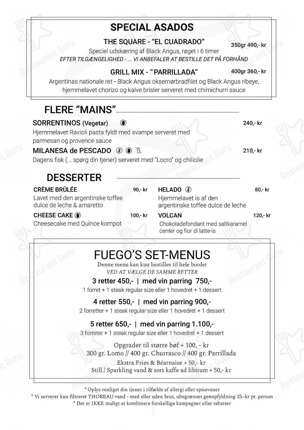 Menu for the Fuego restaurant