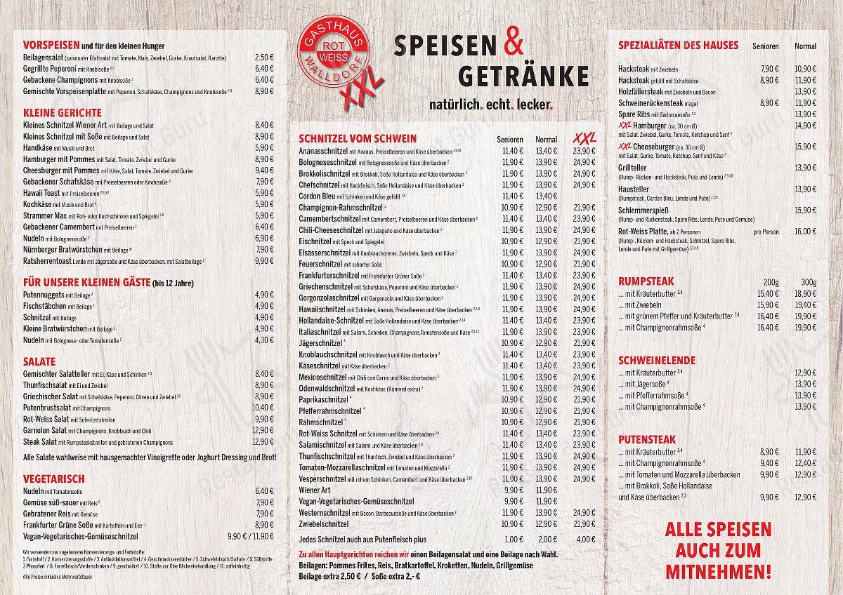 Speisekarte Von Gasthaus Rot Weiss Xxl Restaurant Morfelden Walldorf