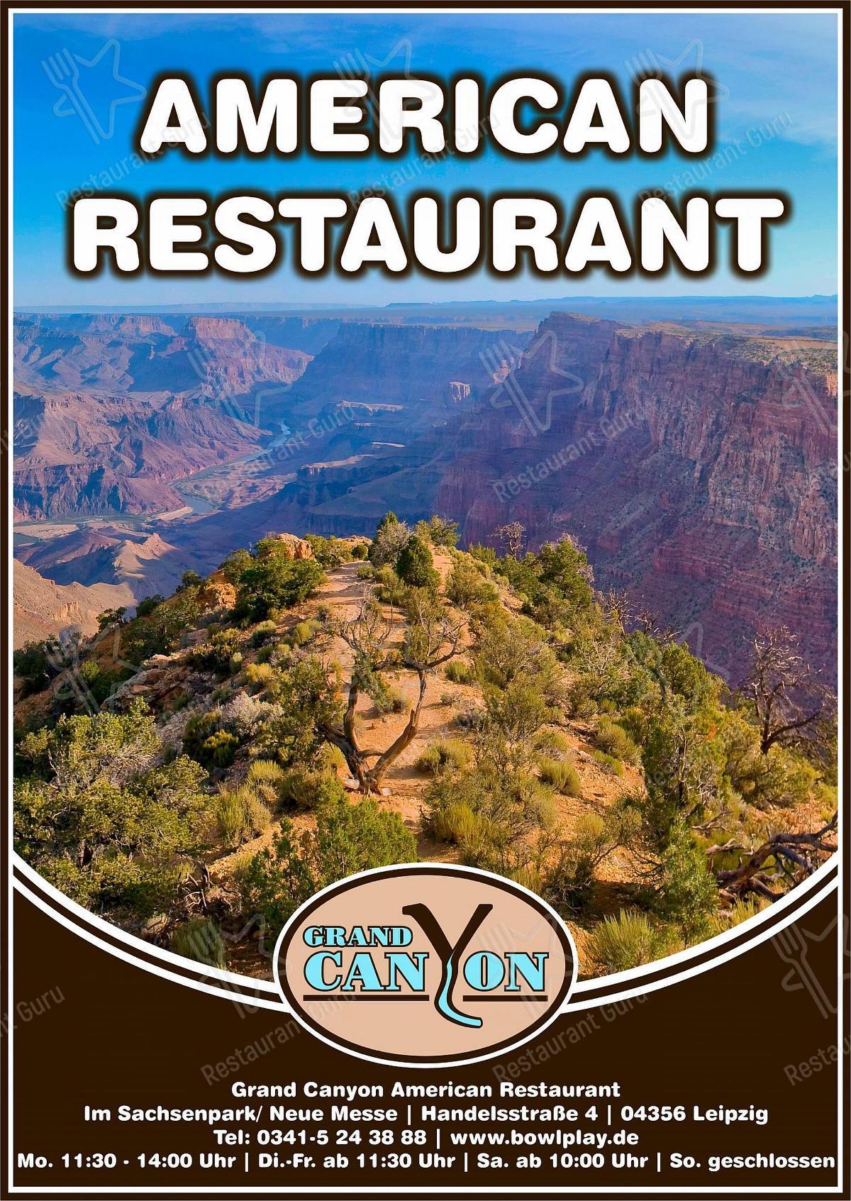 Carta de Grand Canyon - platos y bebidas
