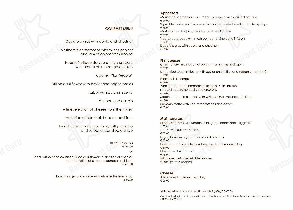 Carta de La Pergola restaurante