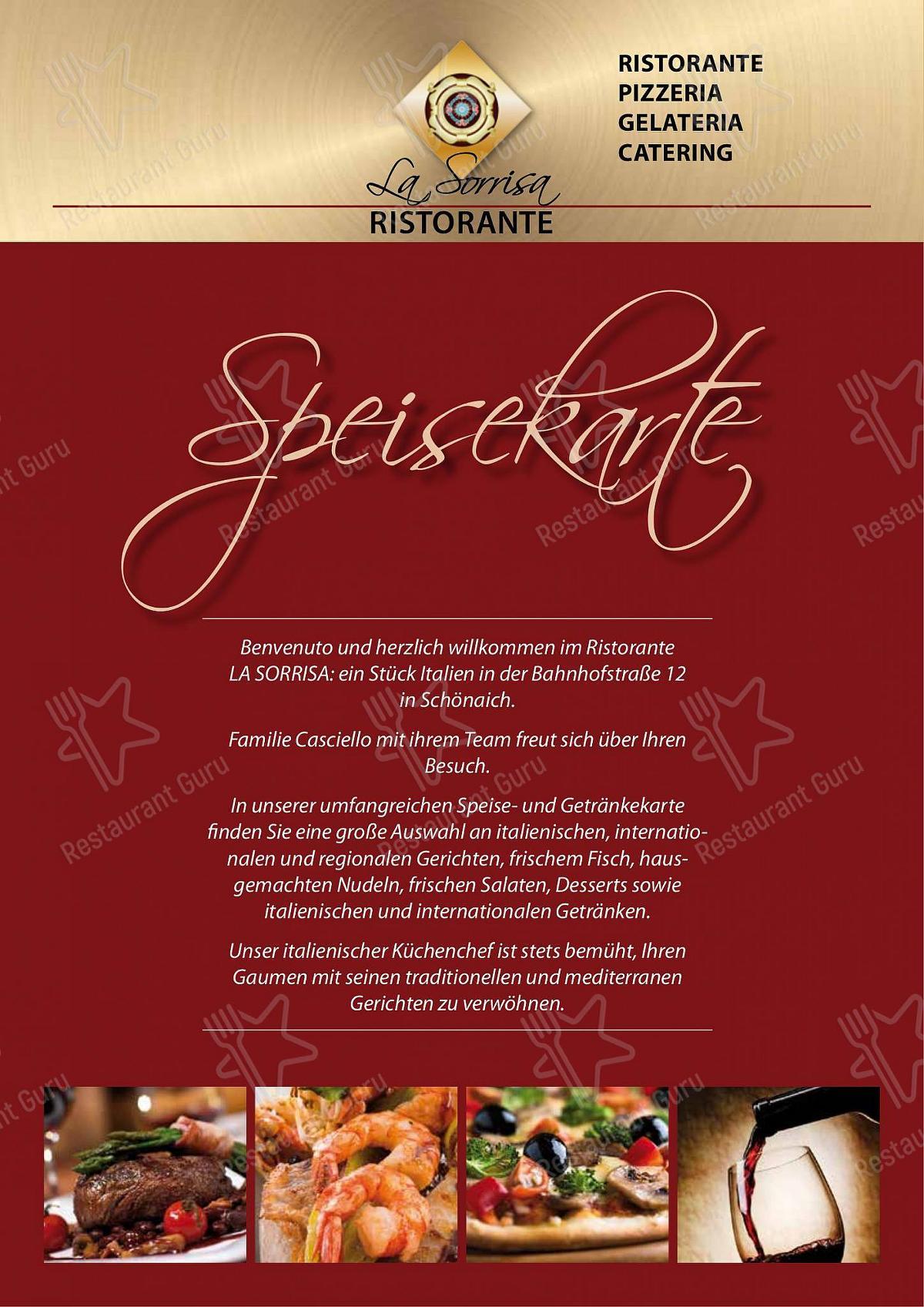 Ristorante La Sorrisa Speisekarte - Gerichte und Getränke