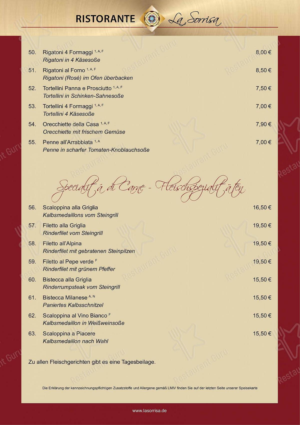 Ristorante La Sorrisa Speisekarte - Essen und Getränke