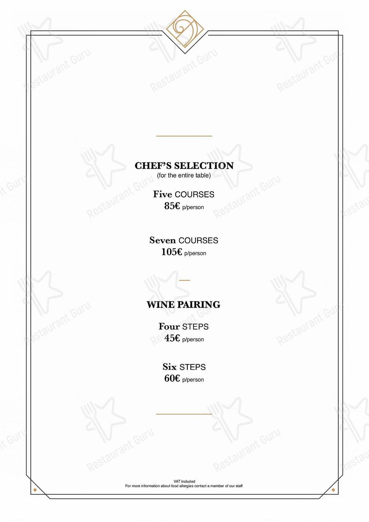 Carta de Le Monument restaurante