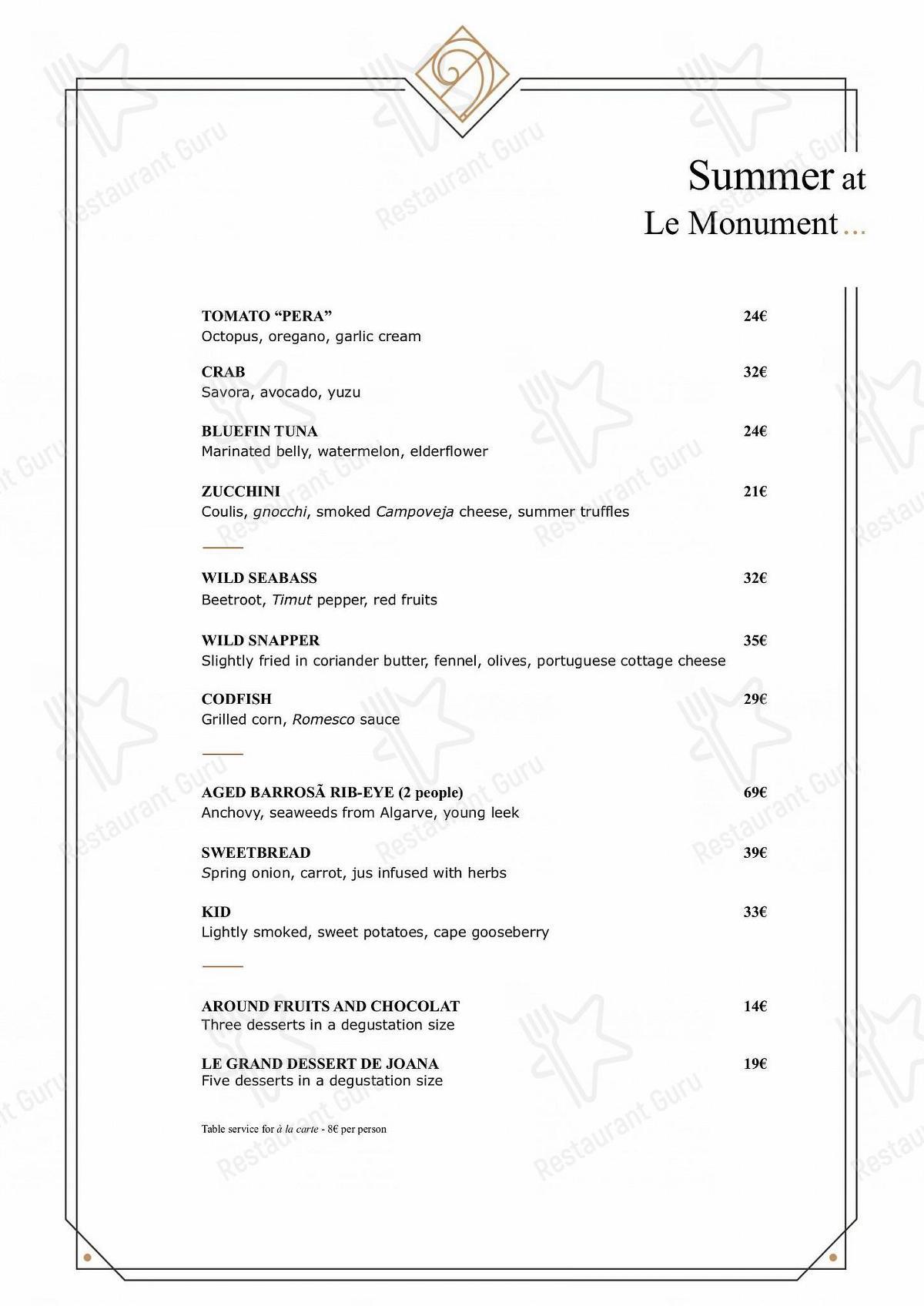 Carta de Le Monument - platos y bebidas