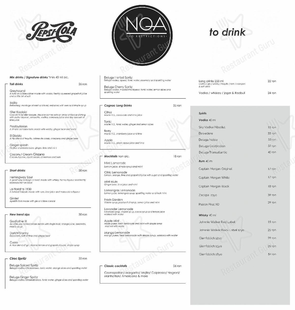Check out the menu for Noa restoclub