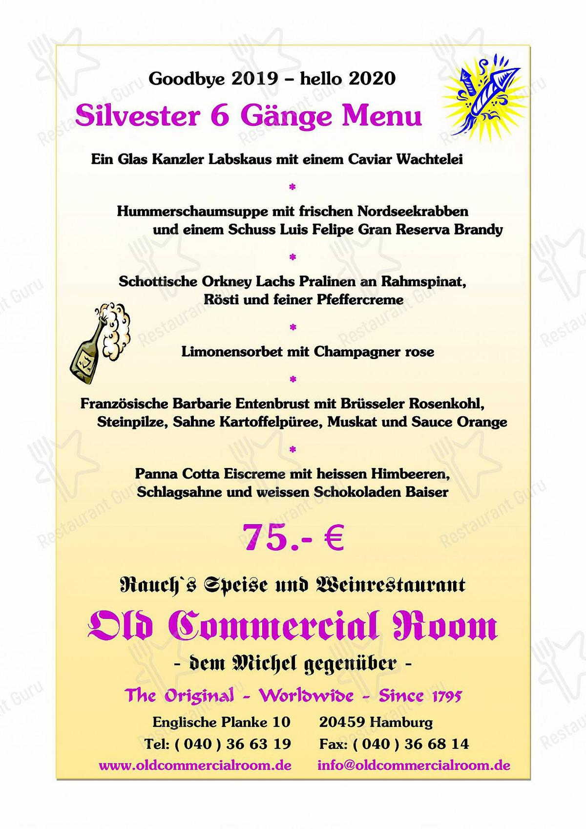 Speisekarte von Old Commercial Room restaurant