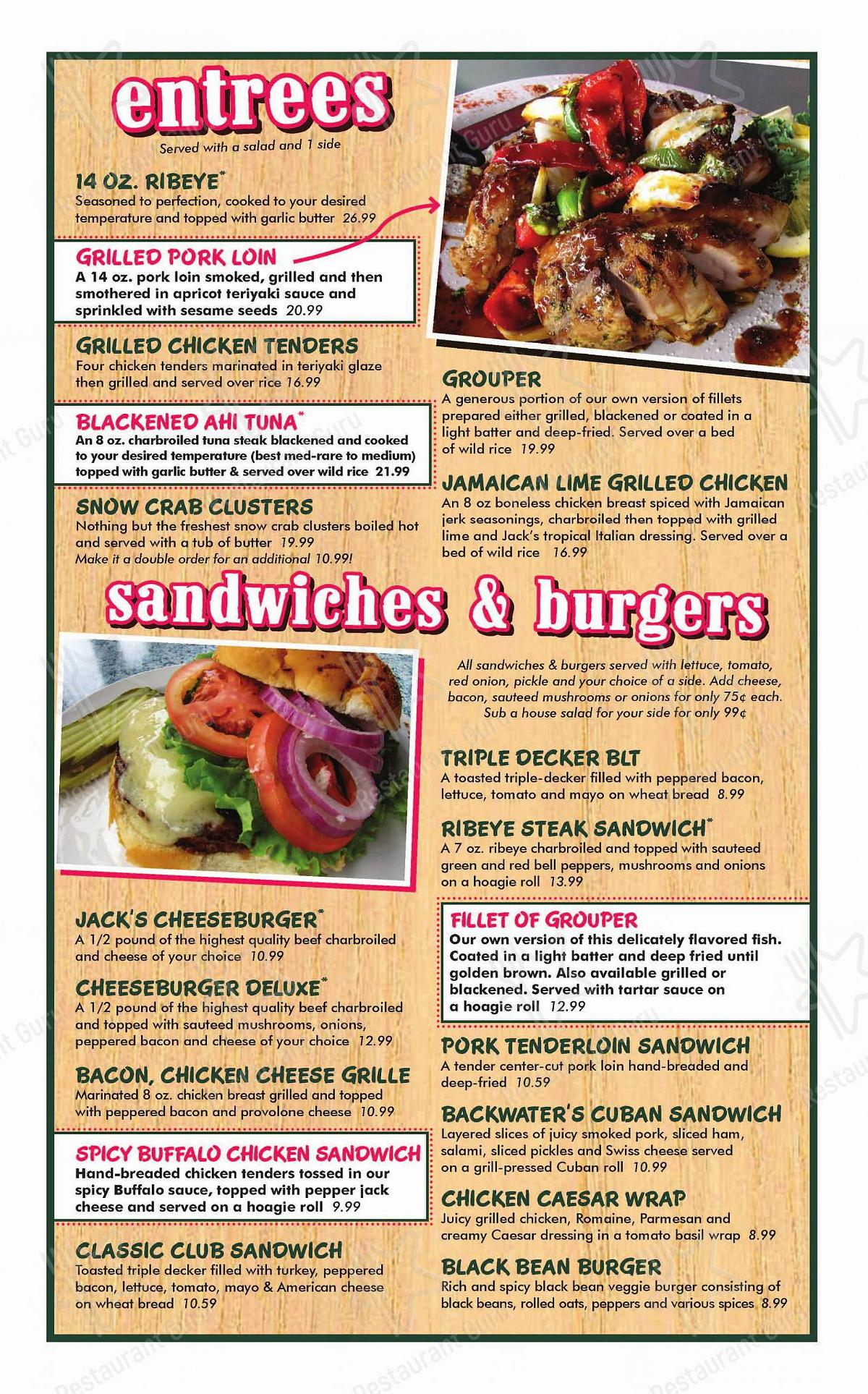 Check out the menu for Backwater Jacks