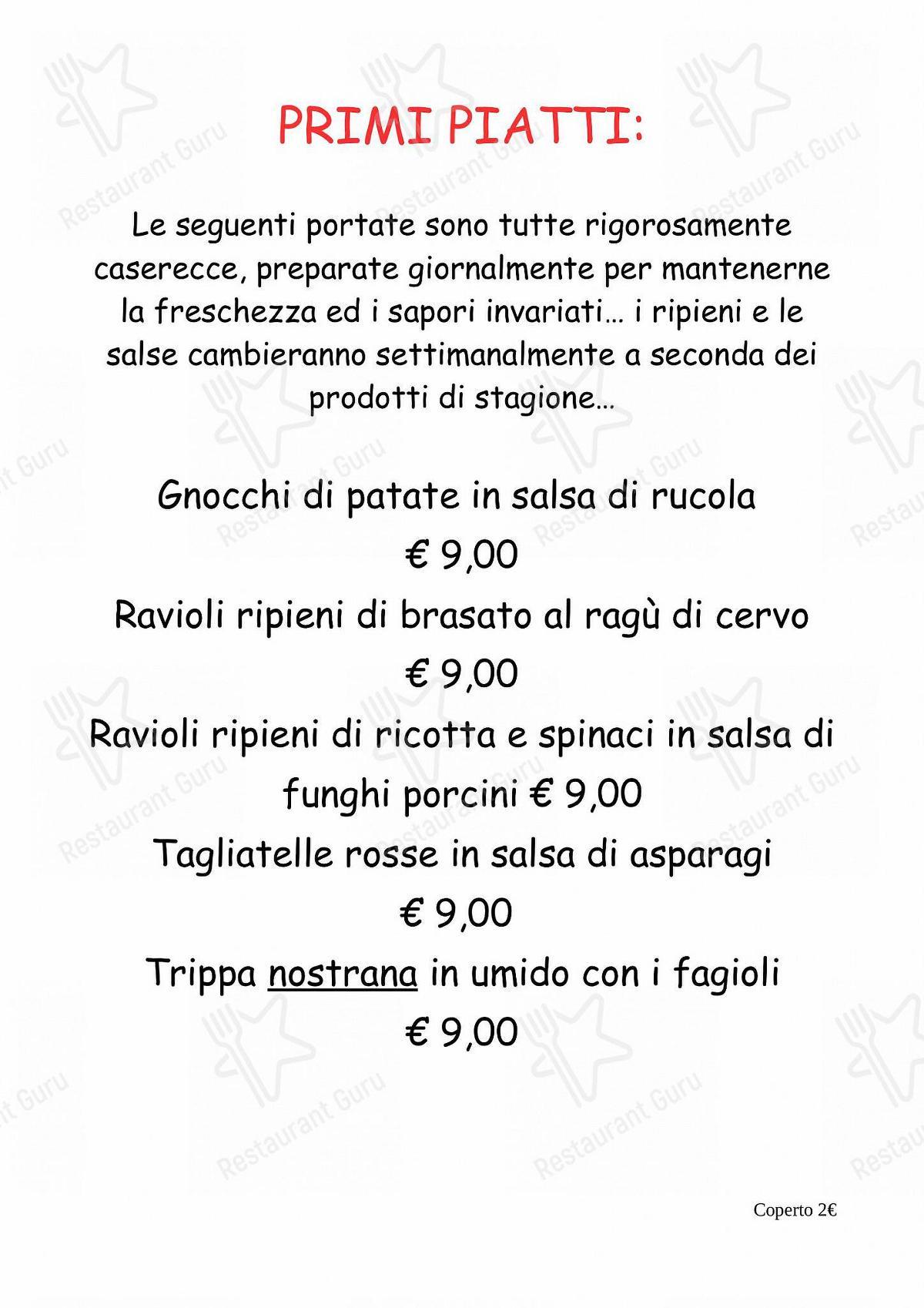 Menu di Ristorante Bar Molinetto - MENU' ALLA CARTA