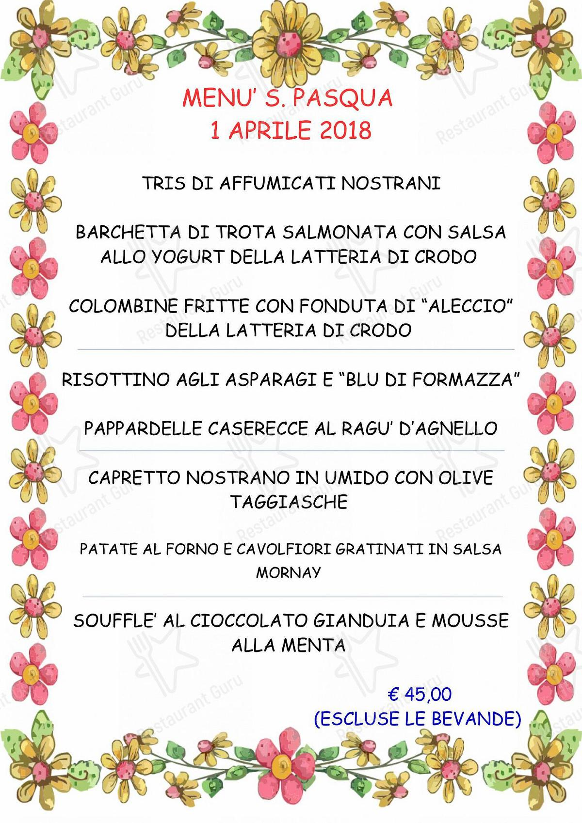 Menu di Ristorante Bar Molinetto - piatti e bevande