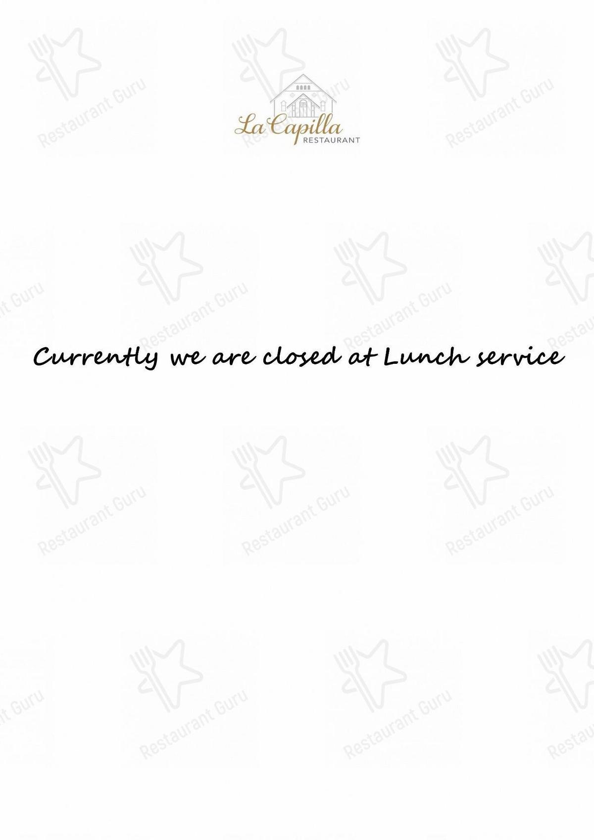 Restaurant La Capilla menu - meals and drinks