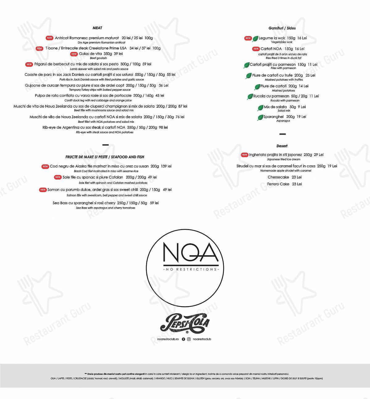 Noa restoclub menu