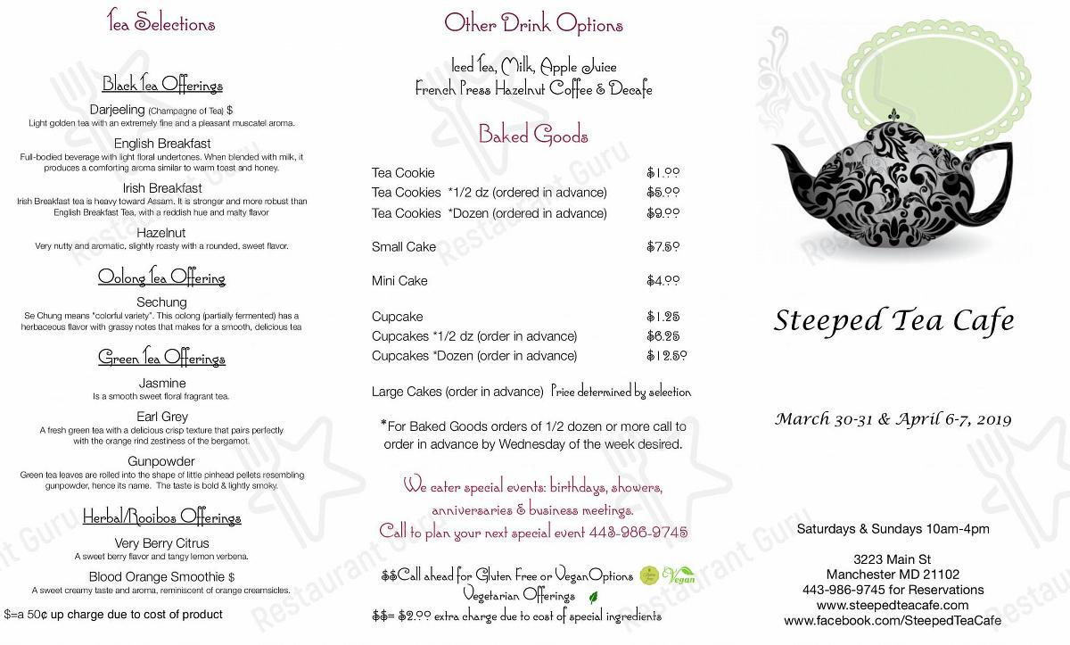 Carta de Steeped Tea Cafe - platos y bebidas