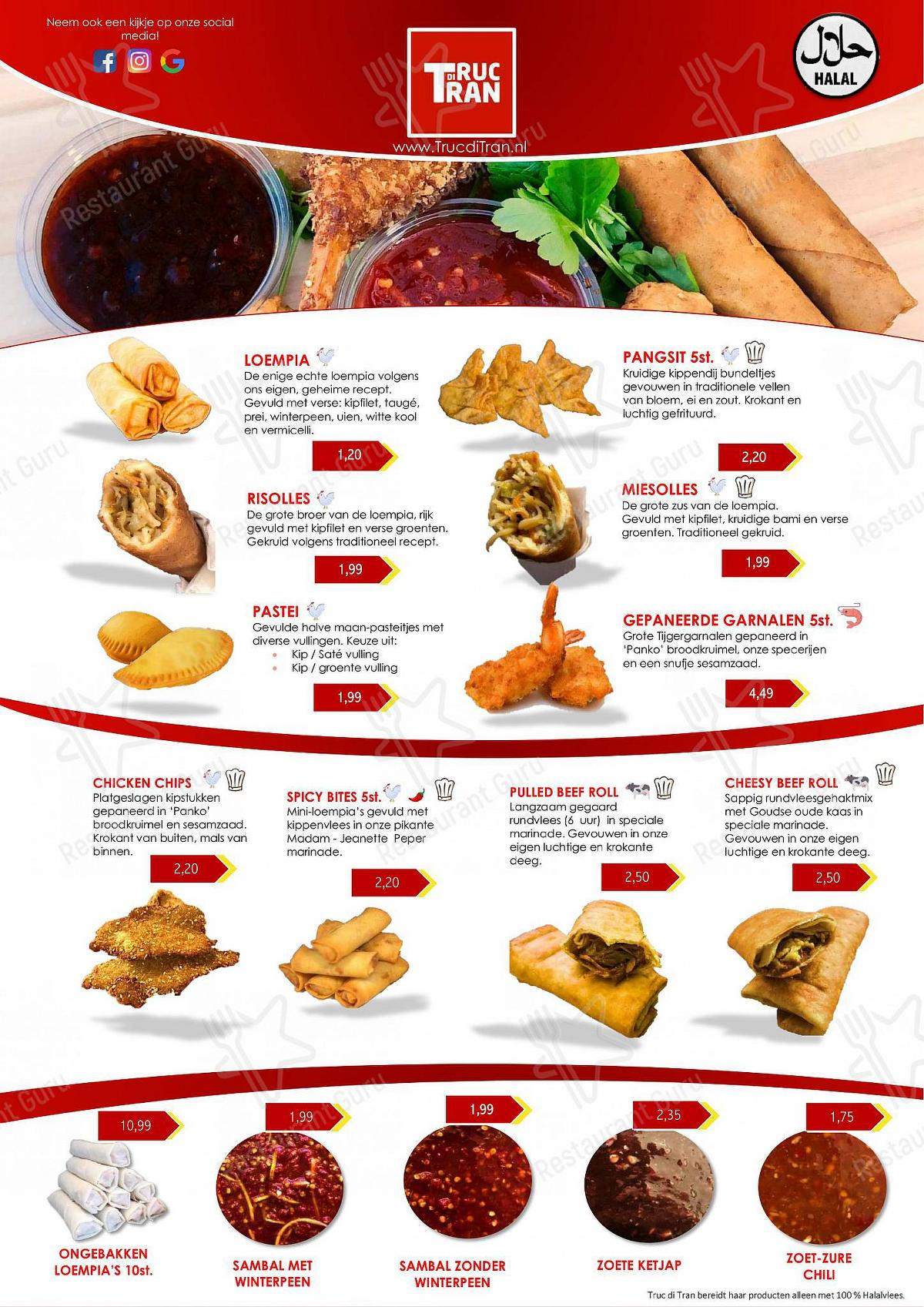 Check out the menu for Truc di Tran