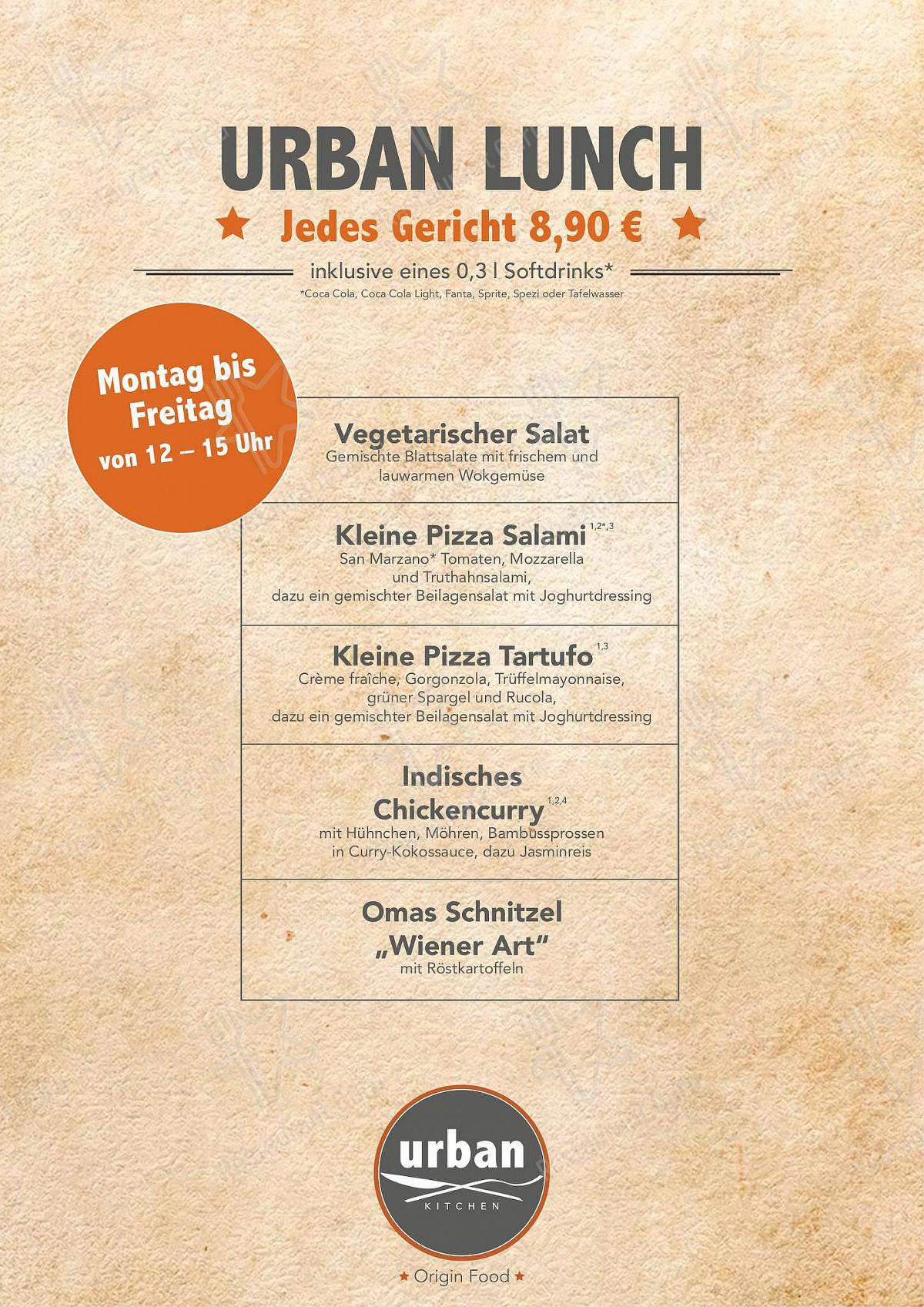 Carta de Urban Kitchen restaurante