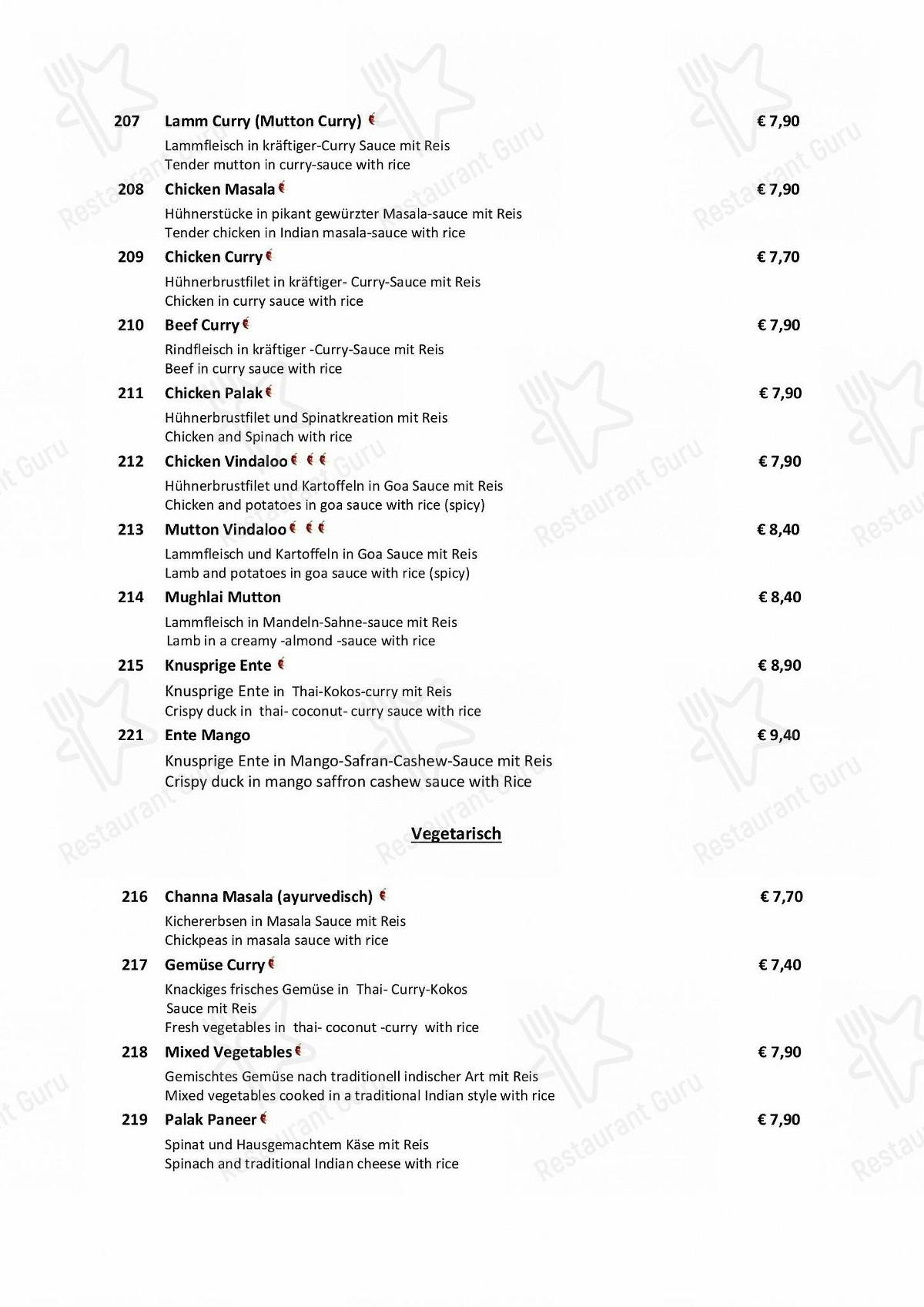Bollywood Speisekarte - Lunch Menu