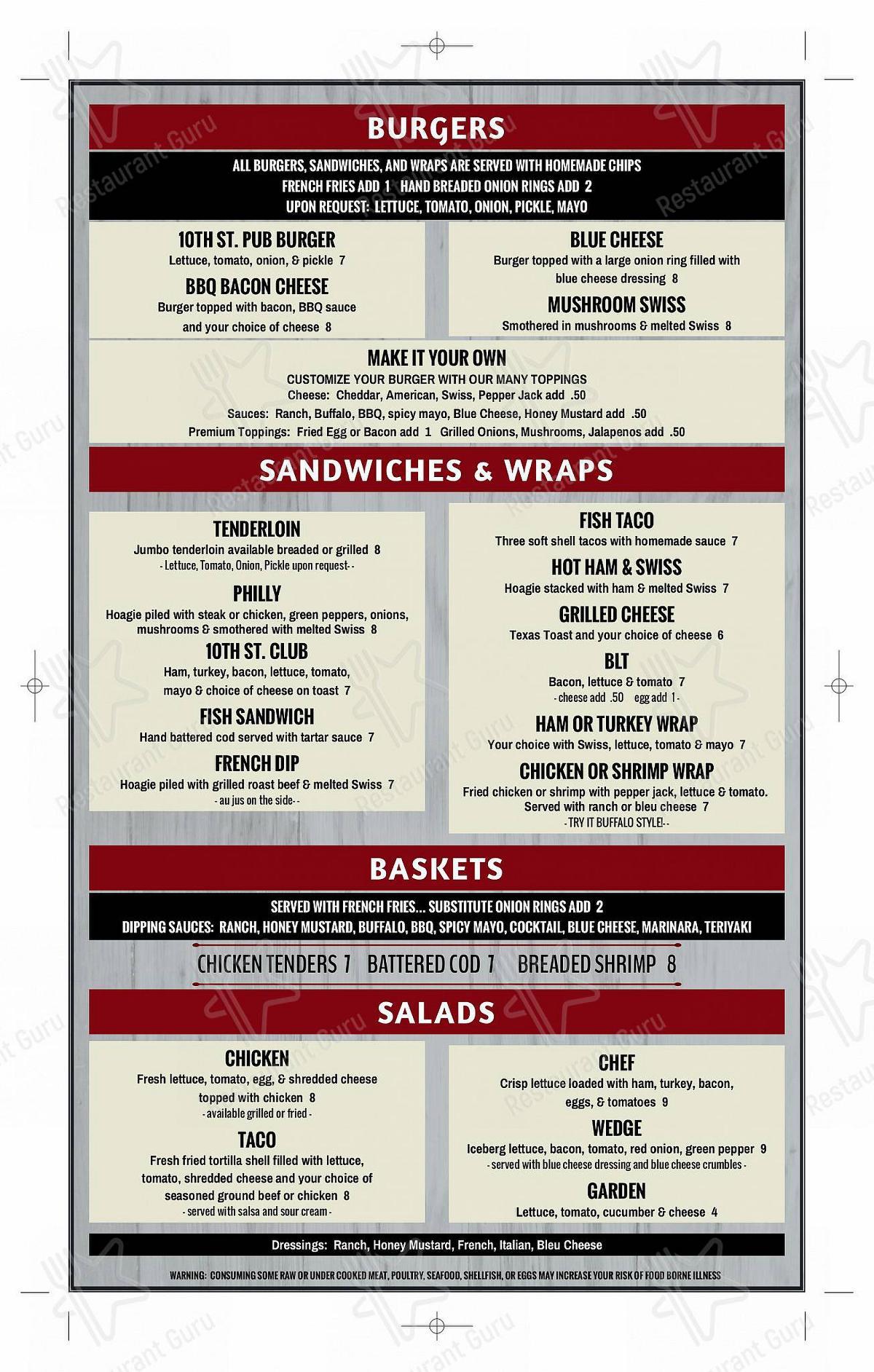 10th street pub menu