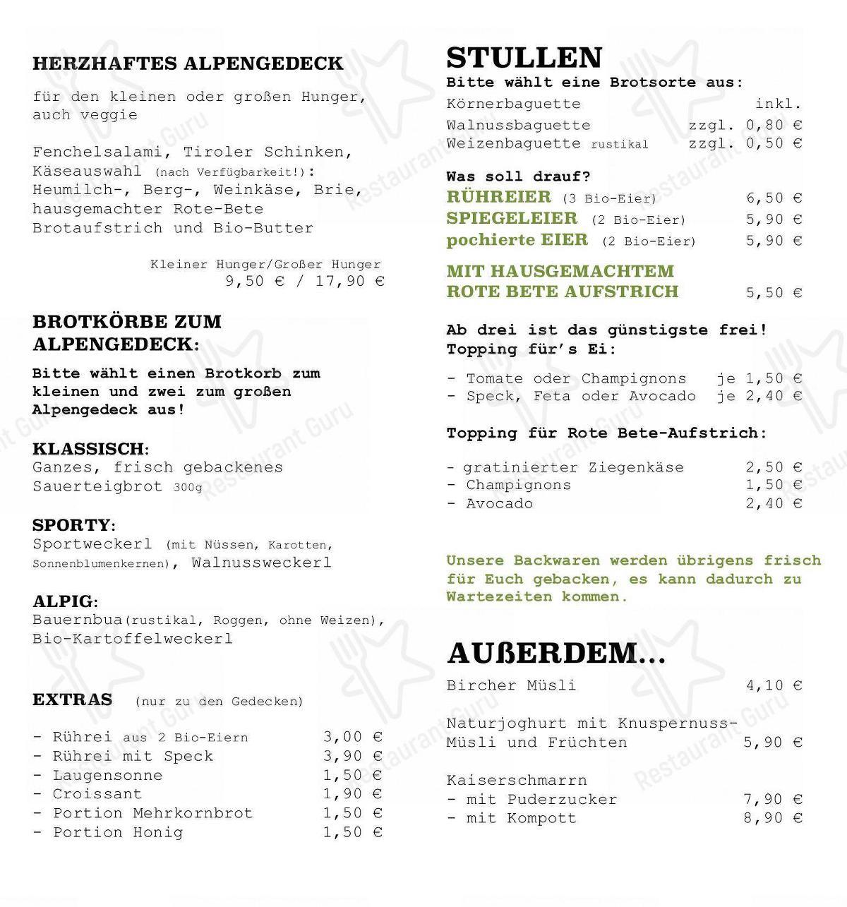 Alpenkantine Speisekarte
