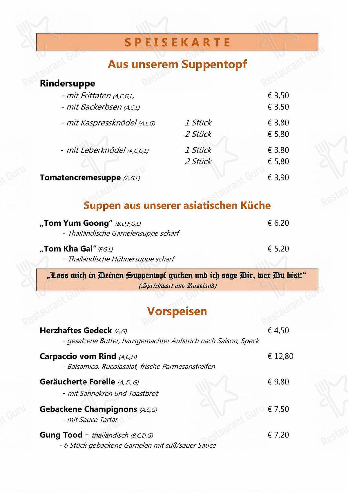 Seht euch die Speisekarte von Café Restaurant Hermann an