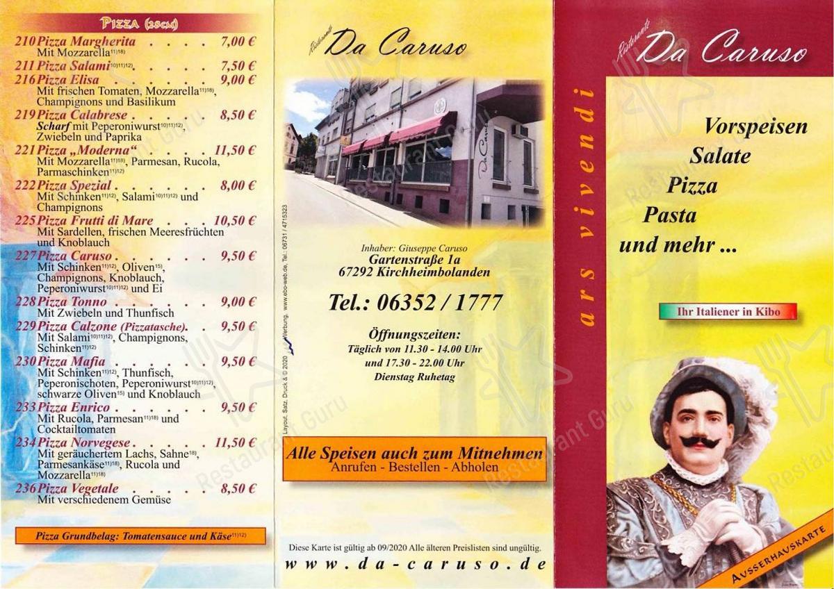 Меню ресторана Caruso