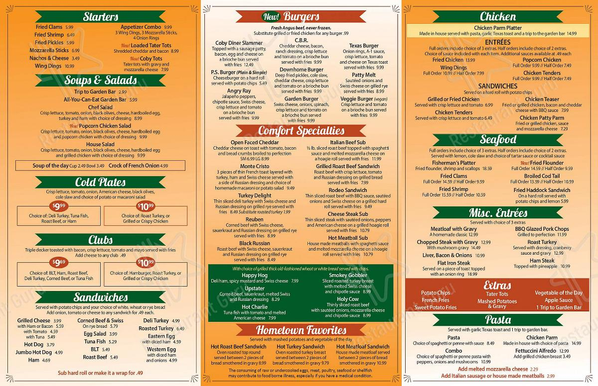 Cobleskill Diner menu - meals and drinks