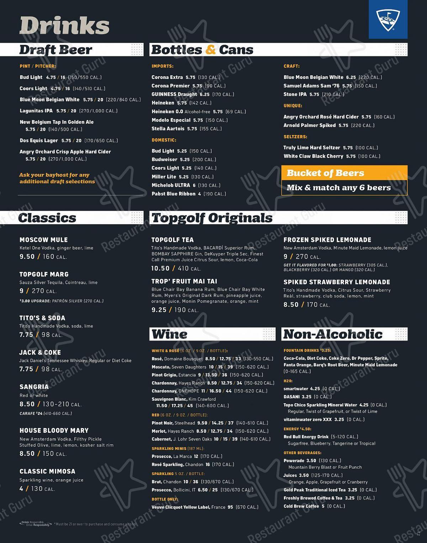 Topgolf menu
