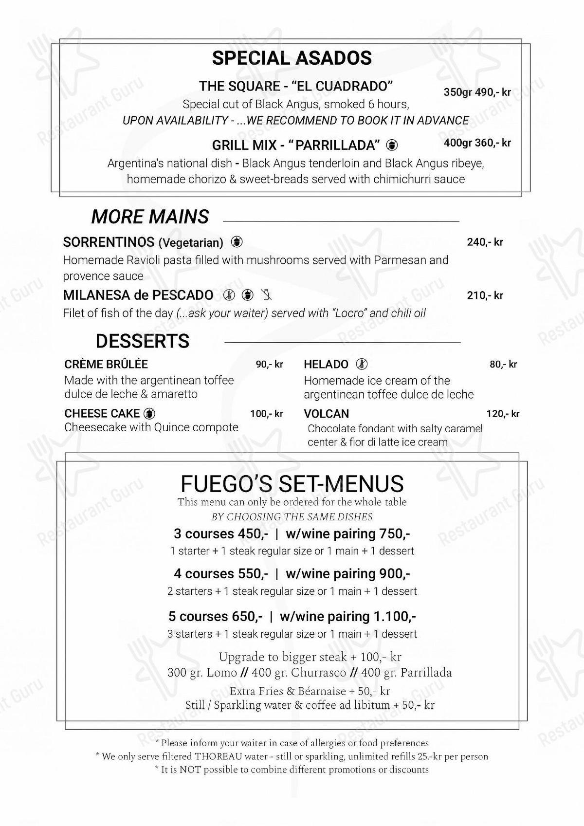 Fuego menu - meals and drinks