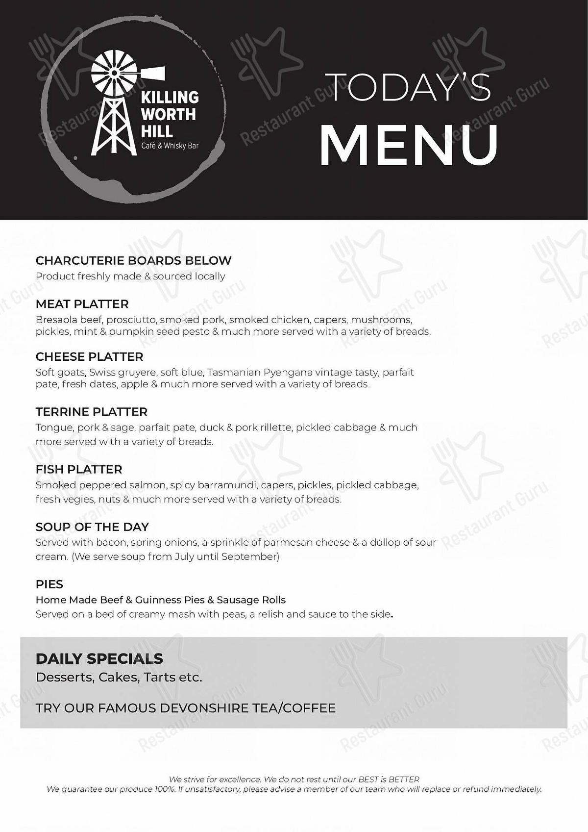 Killingworth Hill menu