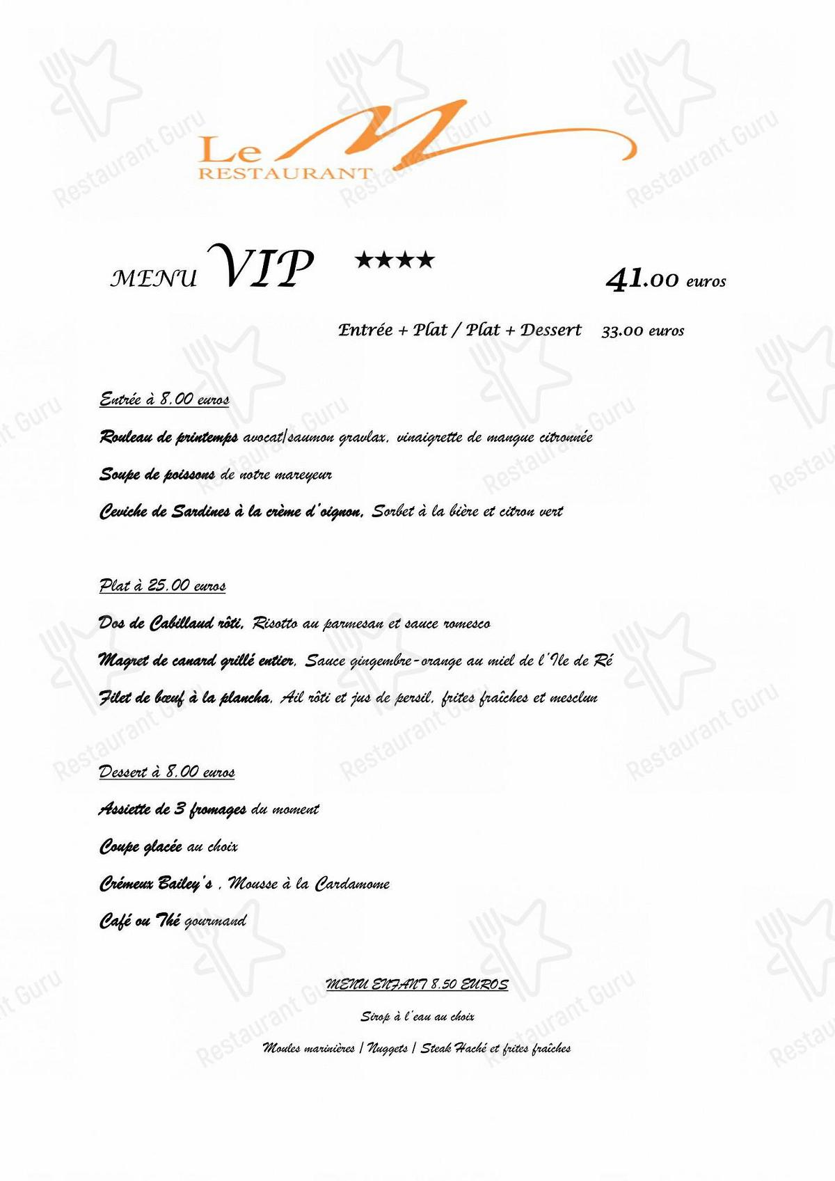 Le M menu - meals and drinks