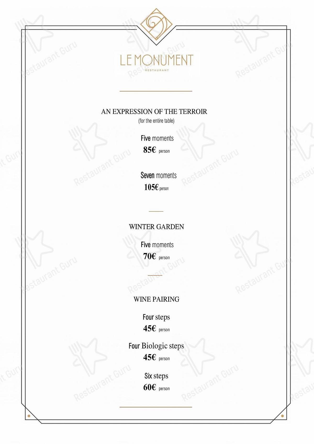 Carta de Le Monument - comidas y bebidas