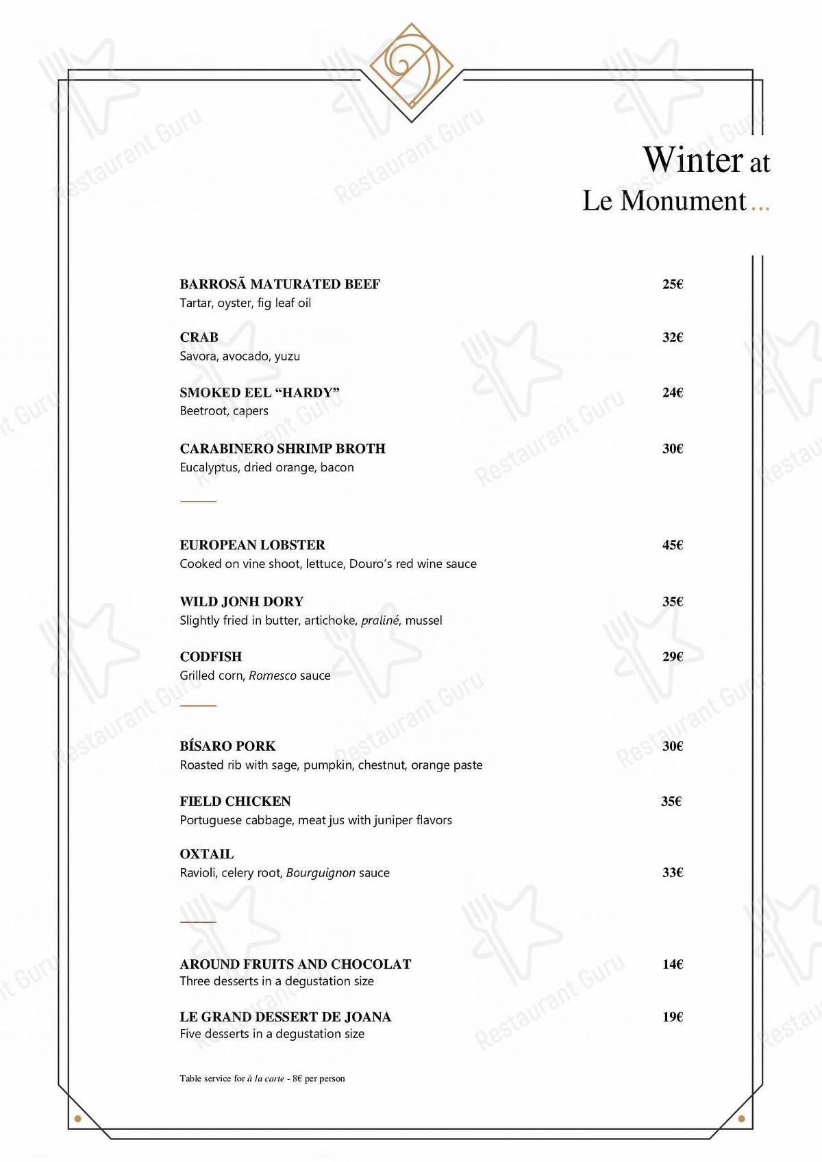 Menu para Le Monument restaurante