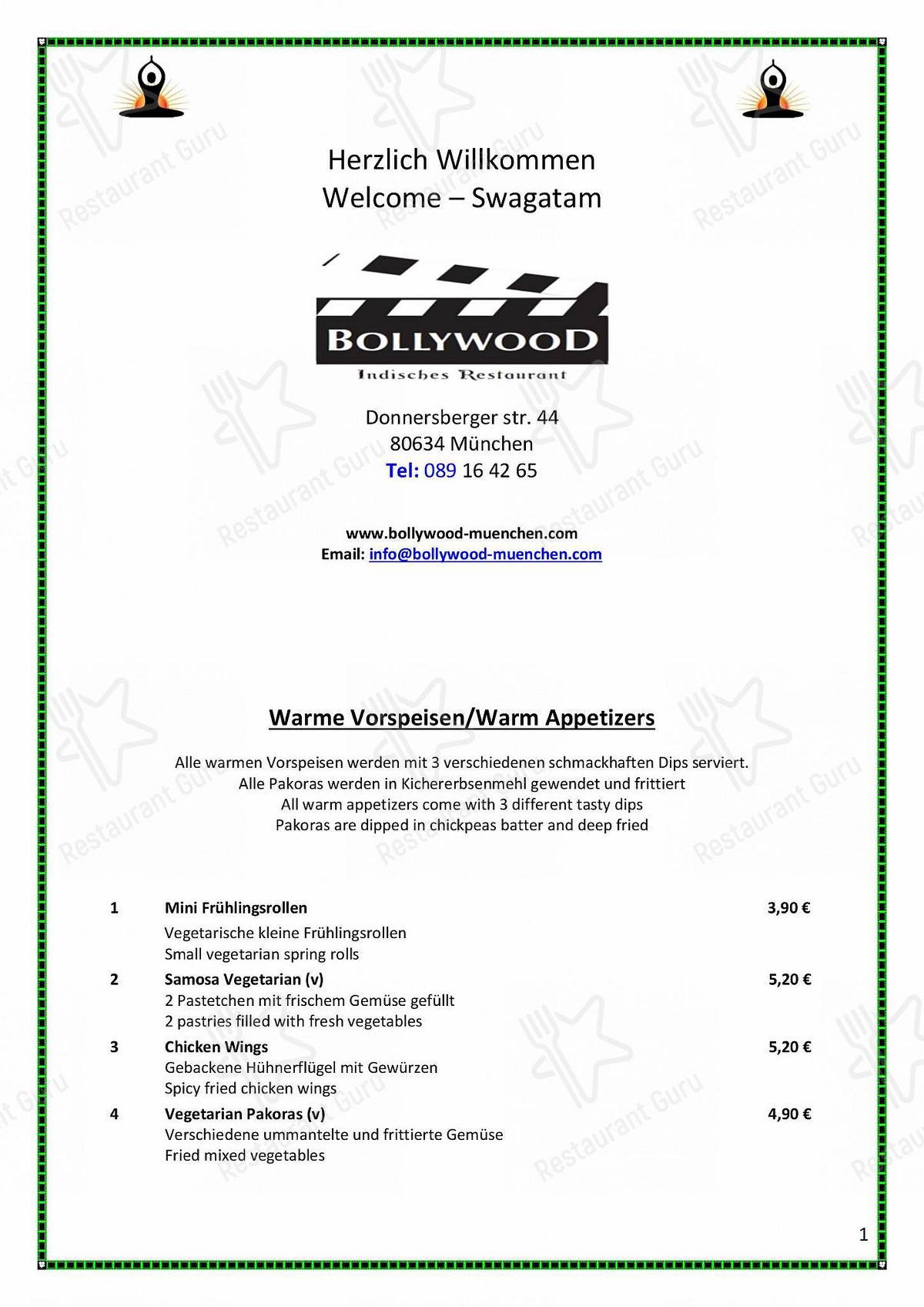 Carta de Bollywood restaurante