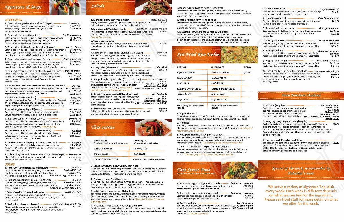 Na-Ha-Thai's Kitchen menu - meals and drinks