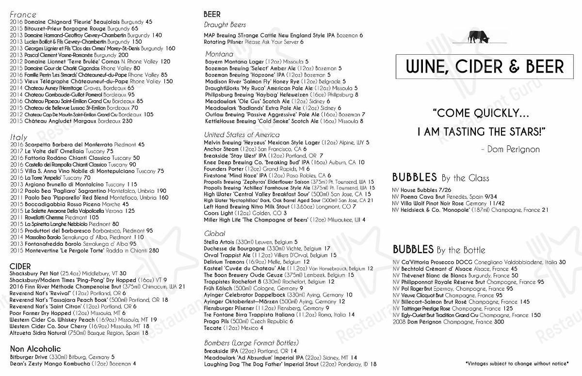 Open Range menu - meals and drinks