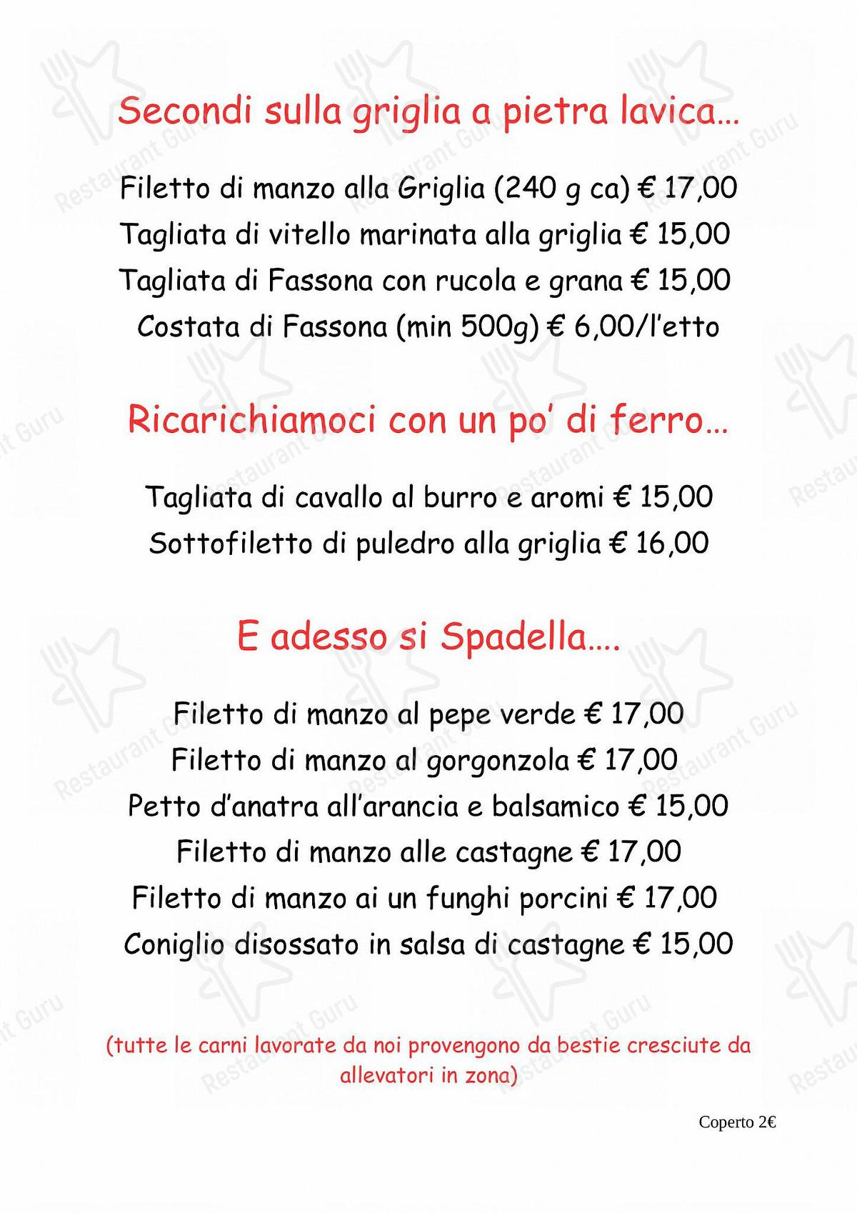 MENU' ALLA CARTA per Ristorante Bar Molinetto ristorante