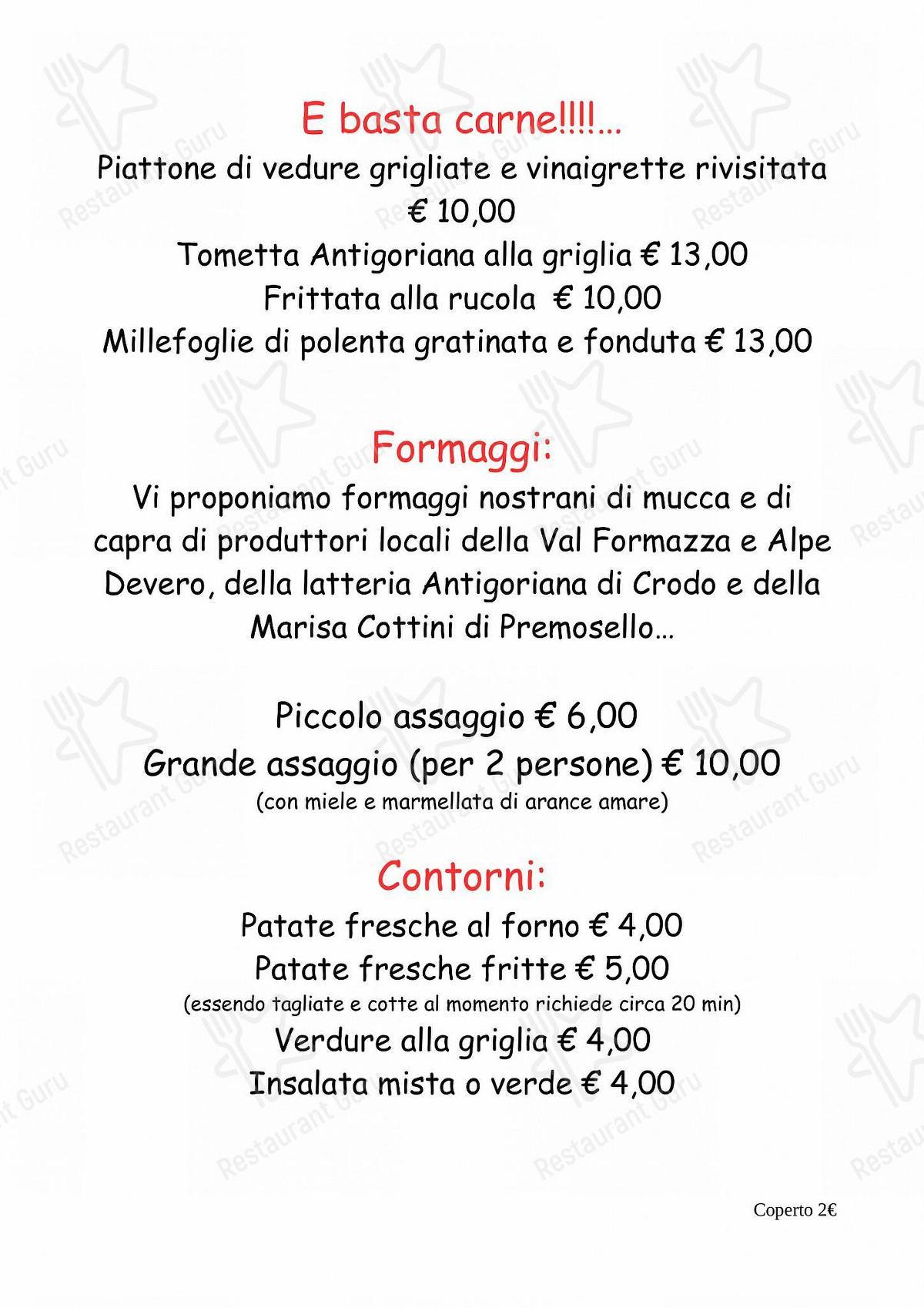 Ristorante Bar Molinetto in Crodo - MENU' ALLA CARTA