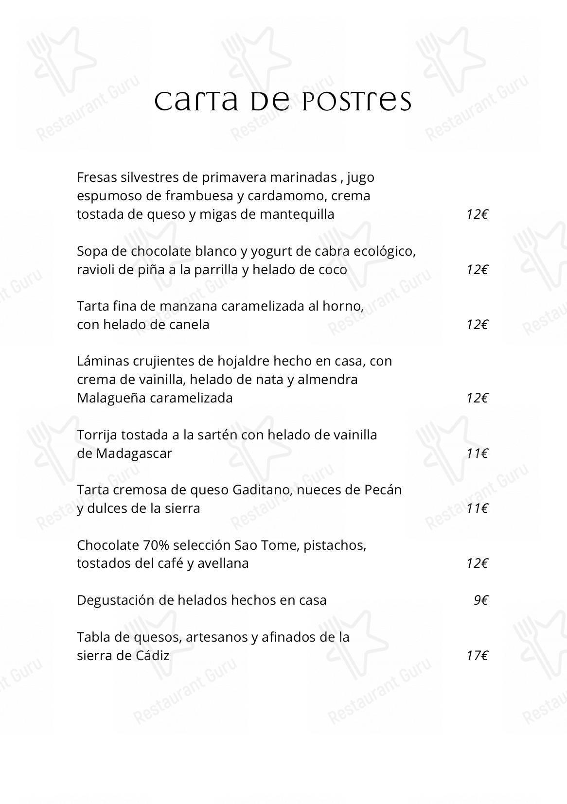 Carta de Restaurante Cataria - platos y bebidas