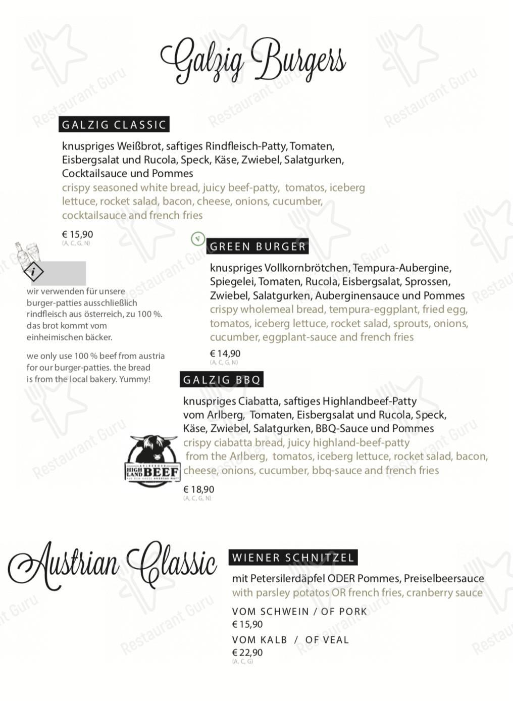 Galzig Bistrobar menu - meals and drinks