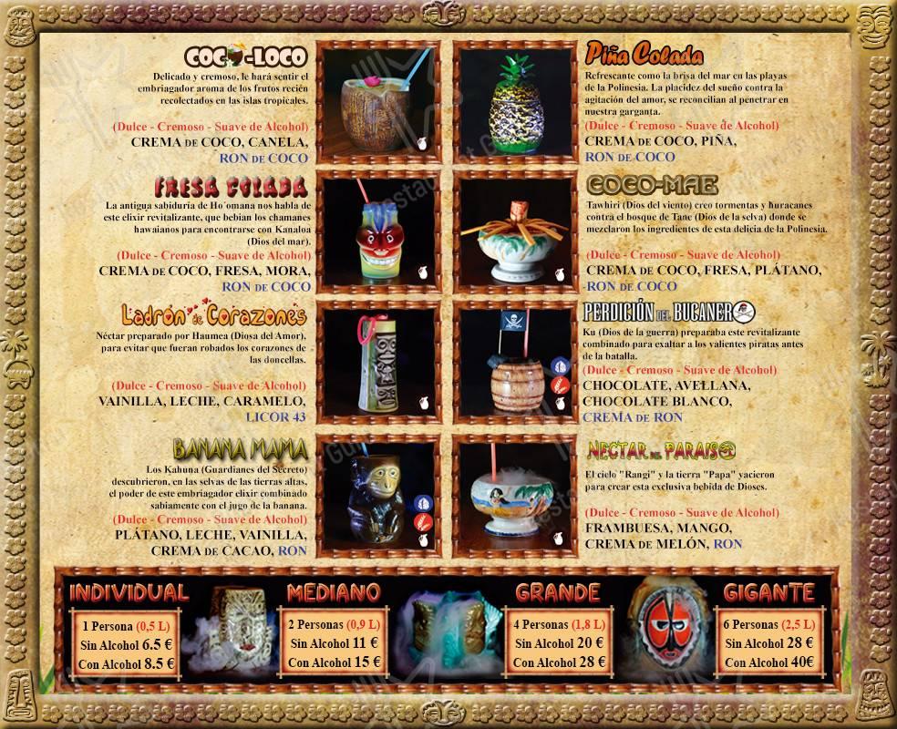 Carta de Hawaika - platos y bebidas