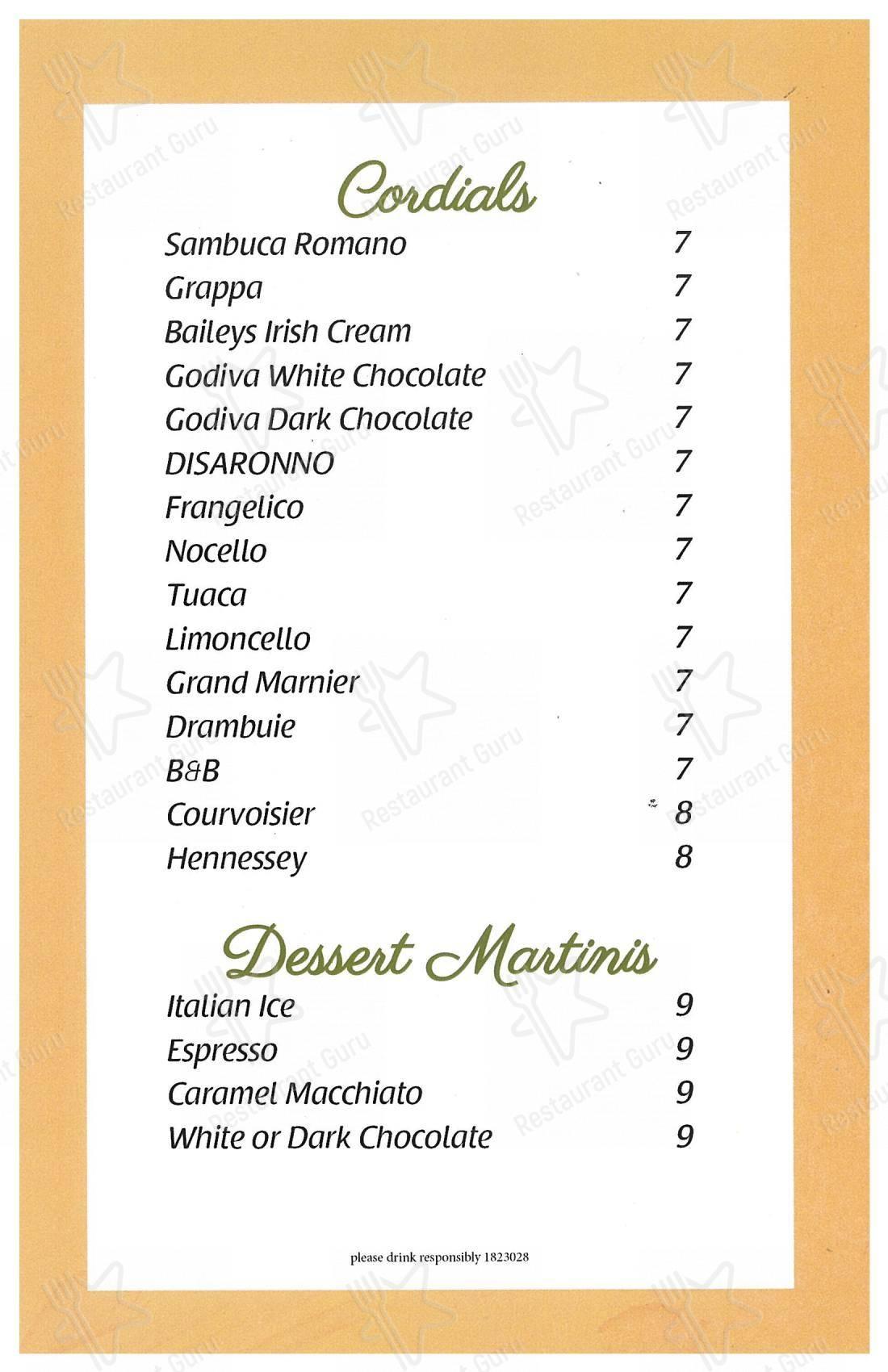 La Gondola menu - meals and drinks